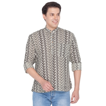 Men Brown Cotton Short Kurta