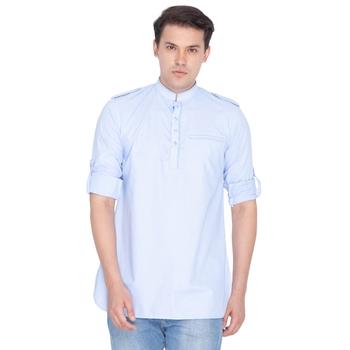 Men Blue Cotton Mid Length Kurta