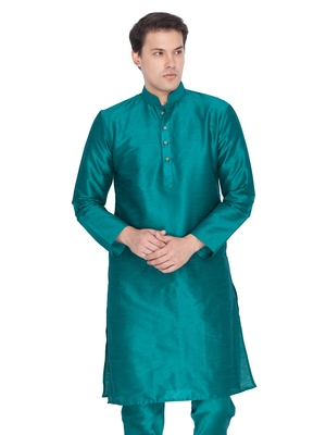 Men Green Cotton Silk Only Kurta