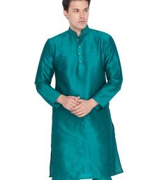 Men Green Cotton Silk Only Kurta
