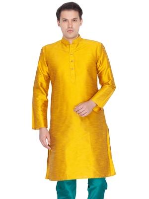 Men Gold Cotton Silk Only Kurta
