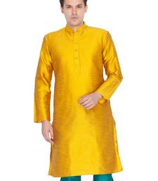 Men Gold Cotton Silk Only Kurta
