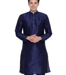 Men Navy Blue Cotton Silk Only Kurta
