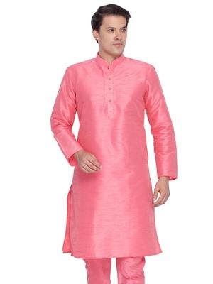 Men Pink Cotton Silk Only Kurta