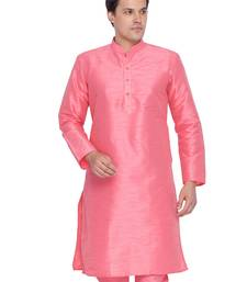 Men Pink Cotton Silk Only Kurta