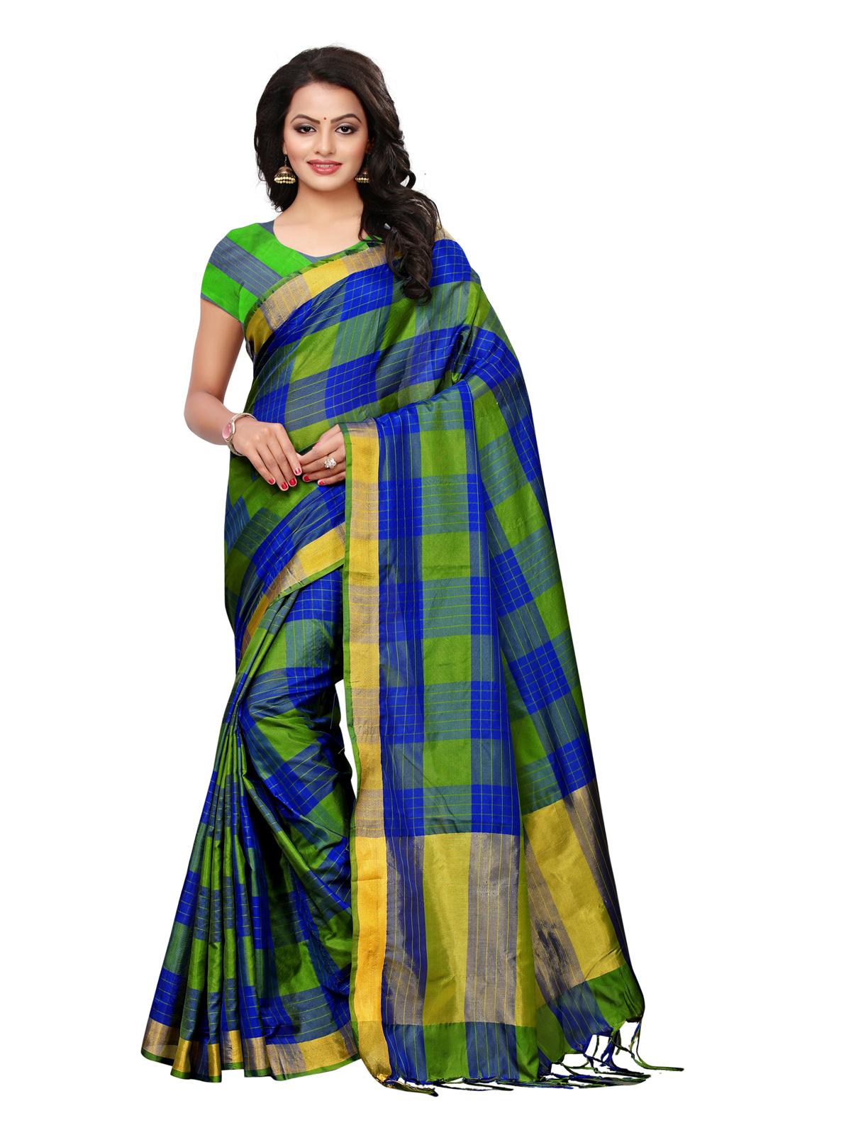 82a04ee25fb69 Multicolor printed silk blend saree with blouse - Satrani Fashion - 2729572