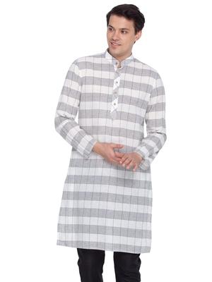 Men White Cotton Only Kurta