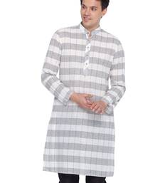 Men White Cotton Only Kurta