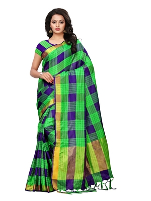 Multicolor Printed Silk Blend Saree With Blouse