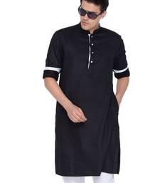 Men Black Cotton Only Kurta