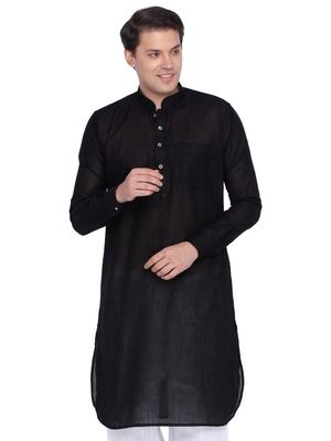 Men Black Linen Pathani Style Kurta