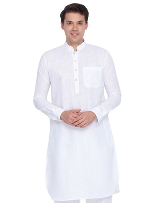Men White Linen Pathani Style Kurta