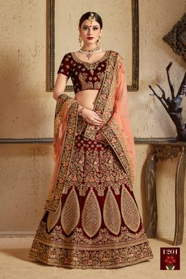 Maroon thread embroidery velvet semi stitched lehenga with dupatta