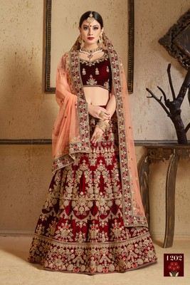 Maroon thread embroidery velvet semi stitched lehenga with dupatta