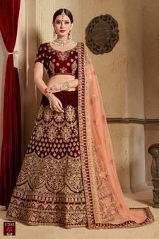 3889014eee7 Maroon thread embroidery velvet semi stitched lehenga with dupatta