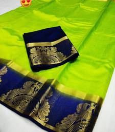 Multicolor woven raw silk saree with blouse indian-dress