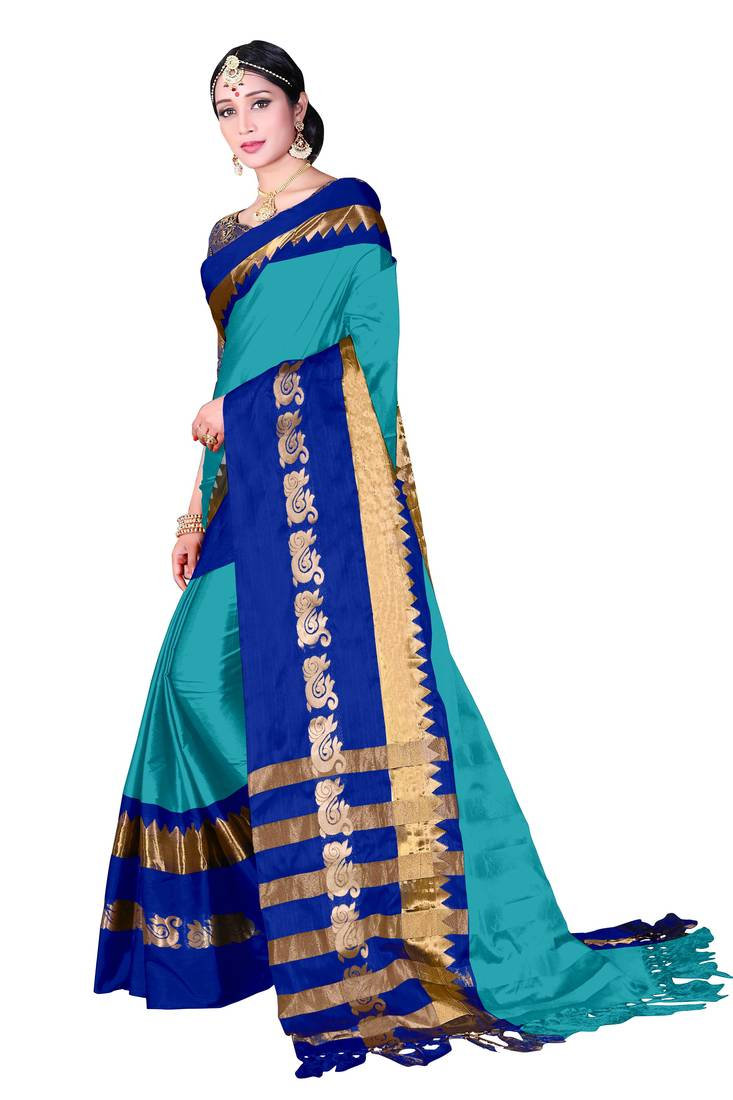 8986f95c991b32 Sky blue woven cotton silk saree with blouse - KANHA FASHION - 2729750