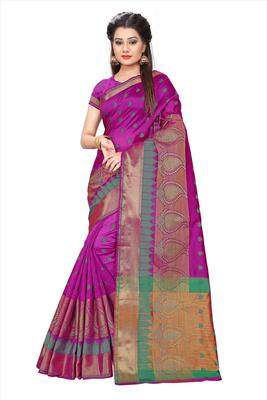 Purple woven poly cotton saree with blouse