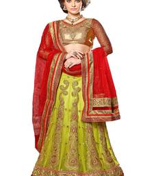 Buy parrot green embroidered net unstitched lehnga choli wedding-lehenga online