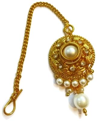 White pearl n AD studded Maang Tikka