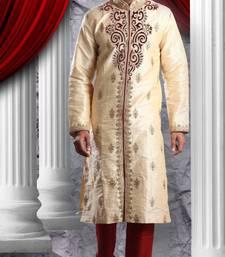 Gold Embroidered Art Dupion Silk Mens Kurta Pajama