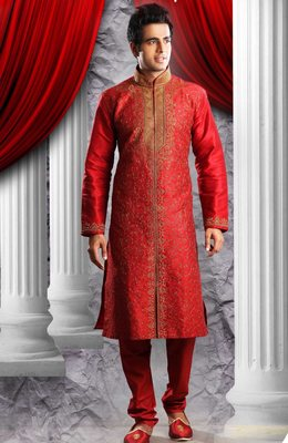 Marron Embroidered Art Dupion Silk Mens Kurta Pajama