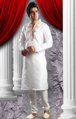 Off White Embroidered Synthetic Mens Kurta Pajama