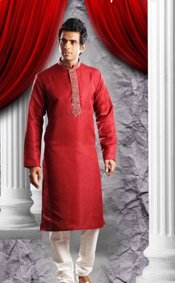 Reddish Marron Embroidered Synthetic Mens Kurta Pajama
