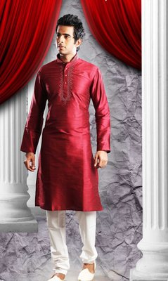 Maroon Embroidered Art Dupion Silk Mens Kurta Pajama