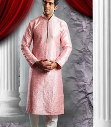 Pink Embroidered Art Dupion Silk Mens Kurta Pajama