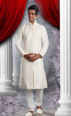 Cream Embroidered Art Dupion Silk Mens Kurta Pajama