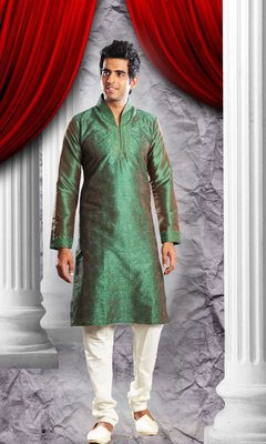 Green Embroidered Art Dupion Silk Mens Kurta Pajama