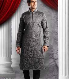 Black Embroidered Synthetic Mens Kurta Pajama