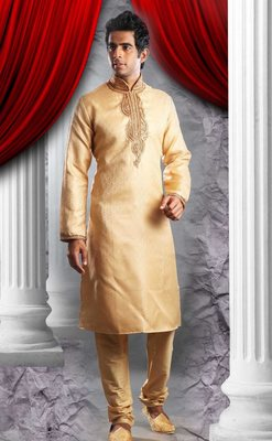 Gold Embroidered Jacquard Mens Kurta Pajama
