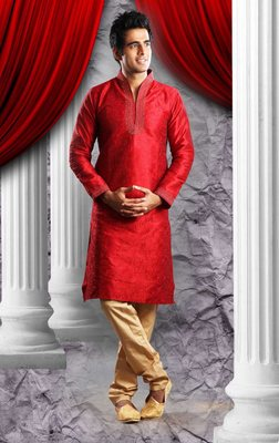 Reddish Marron Embroidered Art Dupion Silk Mens Kurta Pajama