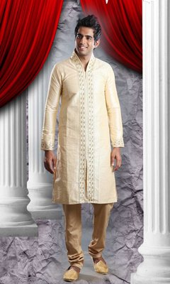 Light Gold Embroidered Art Dupion Silk Mens Kurta Pajama