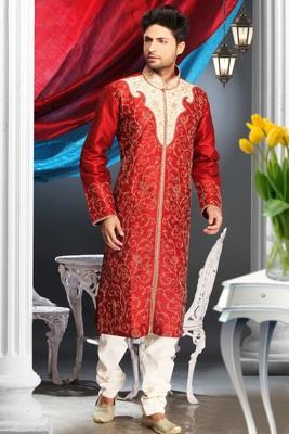 Marron Embroidered Art Dupion Silk Mens Kurta Pajama