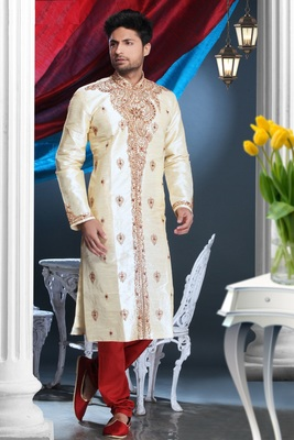 Gold Embroidered Art Dupion Silk Mens Kurta Pajama