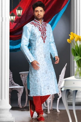 Light Blue Embroidered Art Dupion Silk Mens Kurta Pajama