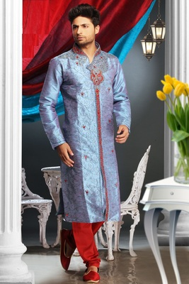 Firozi Embroidered Art Dupion Silk Mens Kurta Pajama