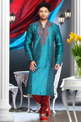 Rama Blue Embroidered Art Dupion Silk Mens Kurta Pajama