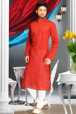 Red Embroidered Cotton Mens Kurta Pajama