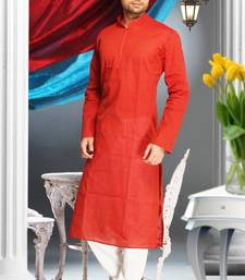 Red Embroidered Cotton Mens Kurta Pajama