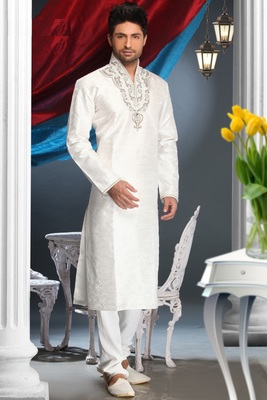 Off White Embroidered Jacquard Mens Kurta Pajama