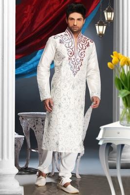 Off White Embroidered Art Silk Mens Kurta Pajama