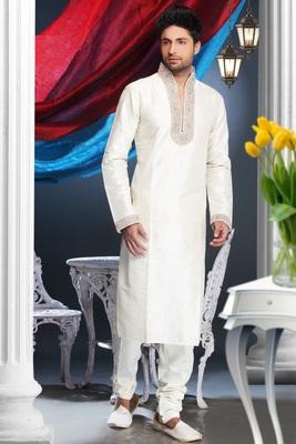 Cream Embroidered Art Silk Mens Kurta Pajama