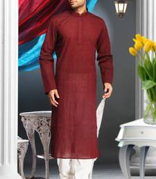 Marron Embroidered Cotton Mens Kurta Pajama
