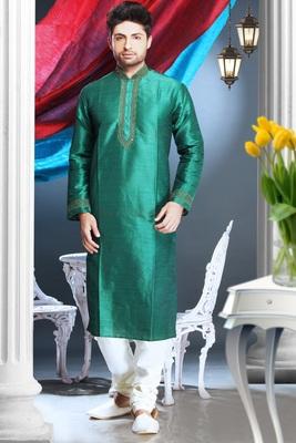 Green Embroidered Art Silk Mens Kurta Pajama