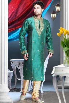 Rama Embroidered Art Silk Mens Kurta Pajama