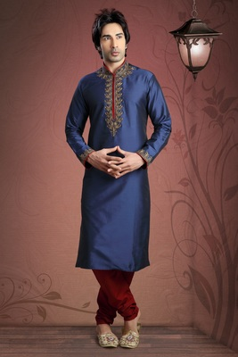 Navy Blue Embroidered Tuffeta Mens Kurta Pajama